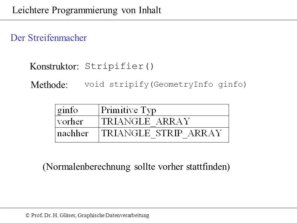 © Prof. Dr. H. Gläser, Graphische Datenverarbeitung Leichtere Programmierung von Inhalt Konstruktor: Stripifier() Der Streifenmacher Methode: void str