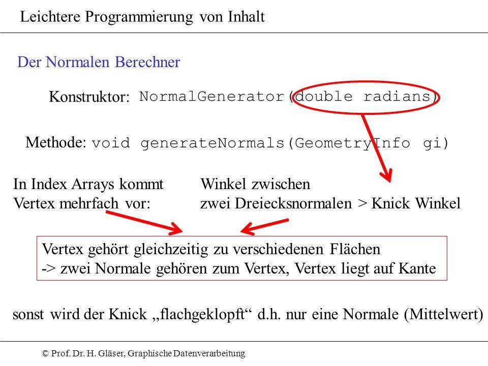 © Prof. Dr. H. Gläser, Graphische Datenverarbeitung Leichtere Programmierung von Inhalt Konstruktor: NormalGenerator(double radians) Der Normalen Bere
