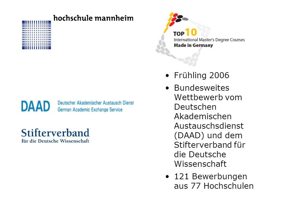 October 2006: Bekanntgabe der ausgezeichneten Programme Unter den 10 Preisträgern: 3 Programme in deutscher Sprache 2 Fachhochschulen 1 einziges ingenieurwissenschaftliches Studium 1.