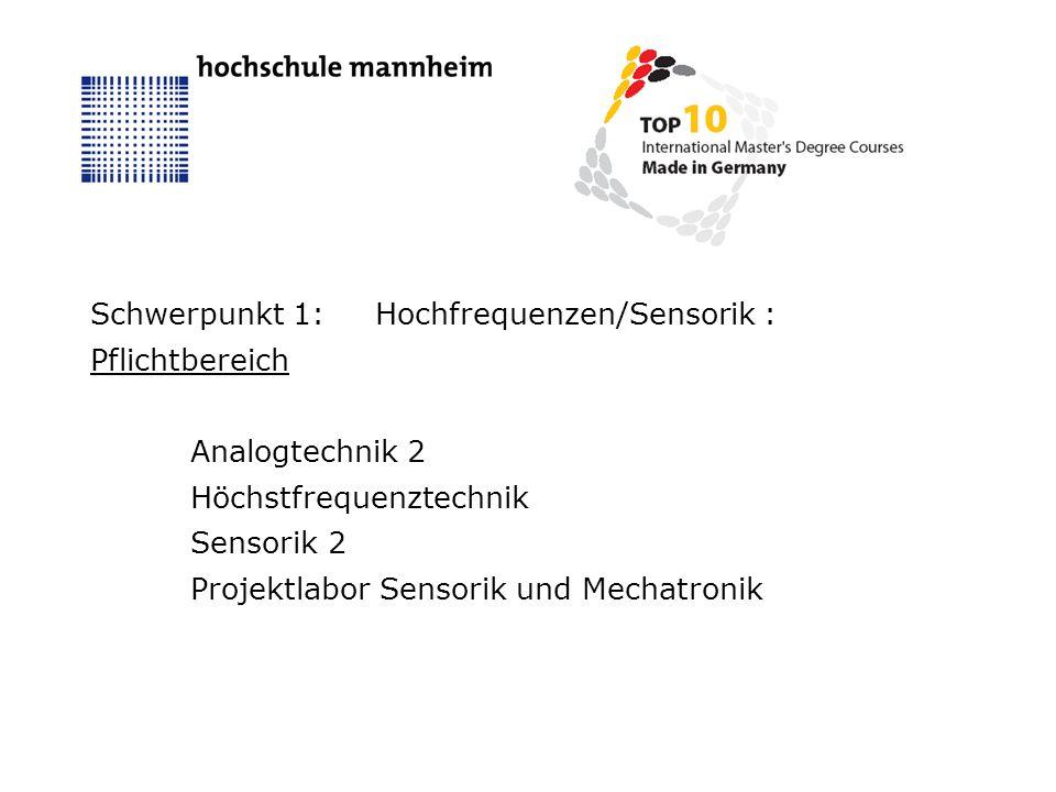 Schwerpunkt 1:Hochfrequenzen/Sensorik : Pflichtbereich Analogtechnik 2 Höchstfrequenztechnik Sensorik 2 Projektlabor Sensorik und Mechatronik