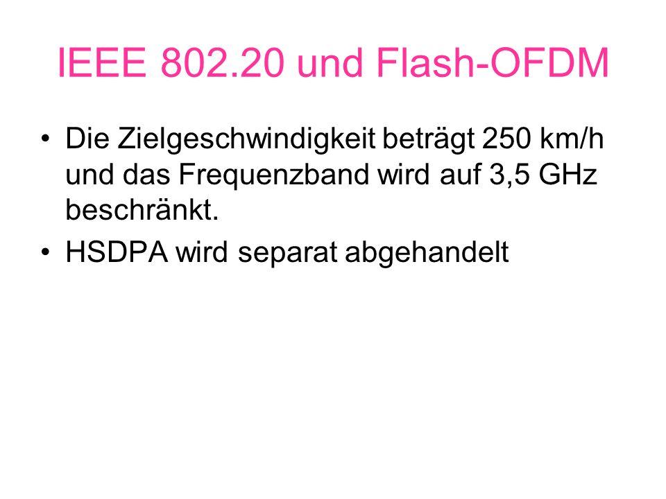 IEEE 802.20 und Flash-OFDM Die Zielgeschwindigkeit beträgt 250 km/h und das Frequenzband wird auf 3,5 GHz beschränkt.