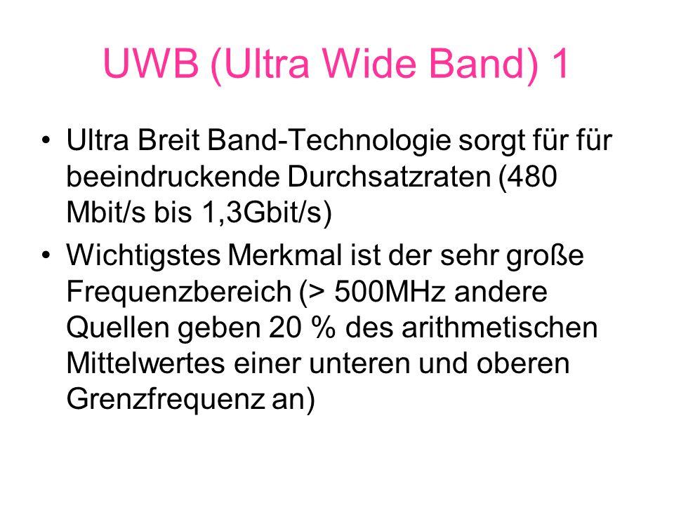 UWB (Ultra Wide Band) 1 Ultra Breit Band-Technologie sorgt für für beeindruckende Durchsatzraten (480 Mbit/s bis 1,3Gbit/s) Wichtigstes Merkmal ist der sehr große Frequenzbereich (> 500MHz andere Quellen geben 20 % des arithmetischen Mittelwertes einer unteren und oberen Grenzfrequenz an)