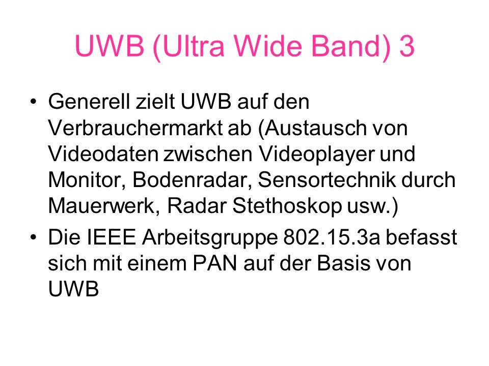 UWB (Ultra Wide Band) 3 Generell zielt UWB auf den Verbrauchermarkt ab (Austausch von Videodaten zwischen Videoplayer und Monitor, Bodenradar, Sensortechnik durch Mauerwerk, Radar Stethoskop usw.) Die IEEE Arbeitsgruppe 802.15.3a befasst sich mit einem PAN auf der Basis von UWB