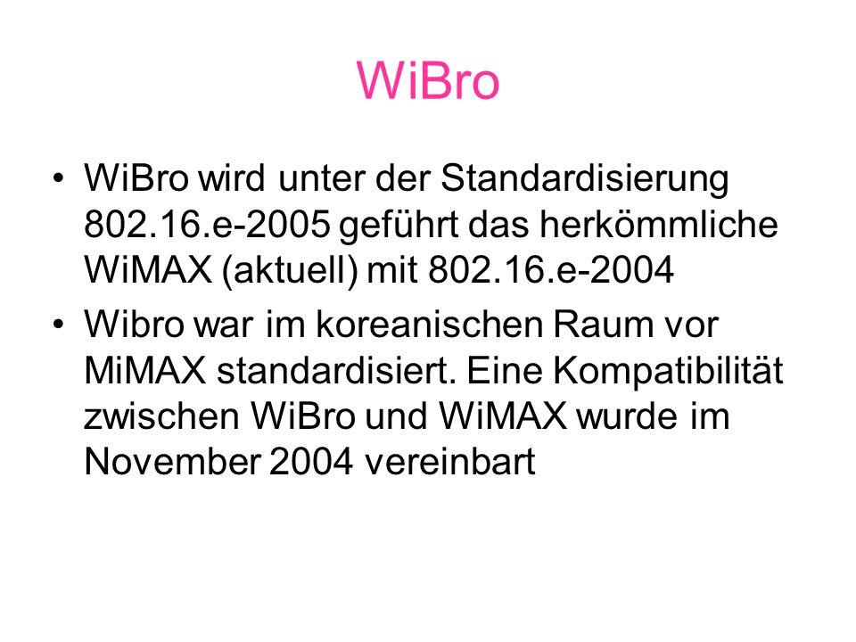 WiBro WiBro wird unter der Standardisierung 802.16.e-2005 geführt das herkömmliche WiMAX (aktuell) mit 802.16.e-2004 Wibro war im koreanischen Raum vor MiMAX standardisiert.