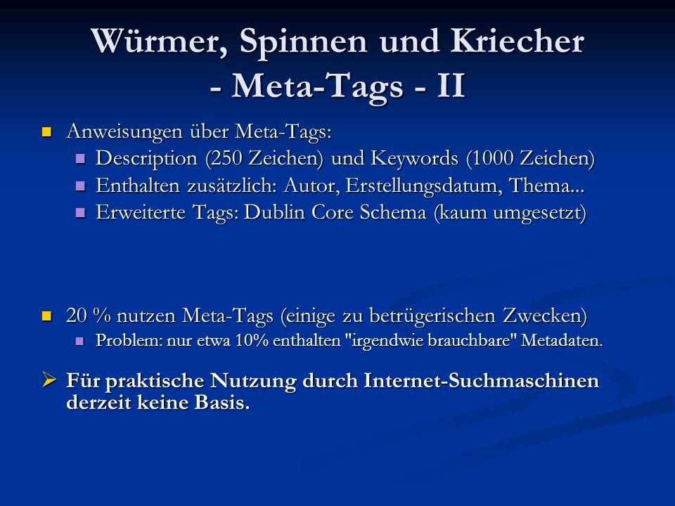 Würmer, Spinnen und Kriecher - Meta-Tags - II Anweisungen über Meta-Tags: Anweisungen über Meta-Tags: Description (250 Zeichen) und Keywords (1000 Zei