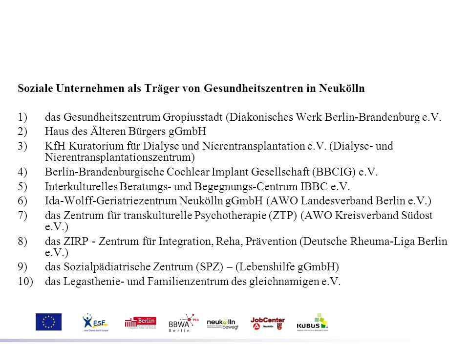 Soziale Unternehmen als Träger von Gesundheitszentren in Neukölln 1)das Gesundheitszentrum Gropiusstadt (Diakonisches Werk Berlin-Brandenburg e.V. 2)H