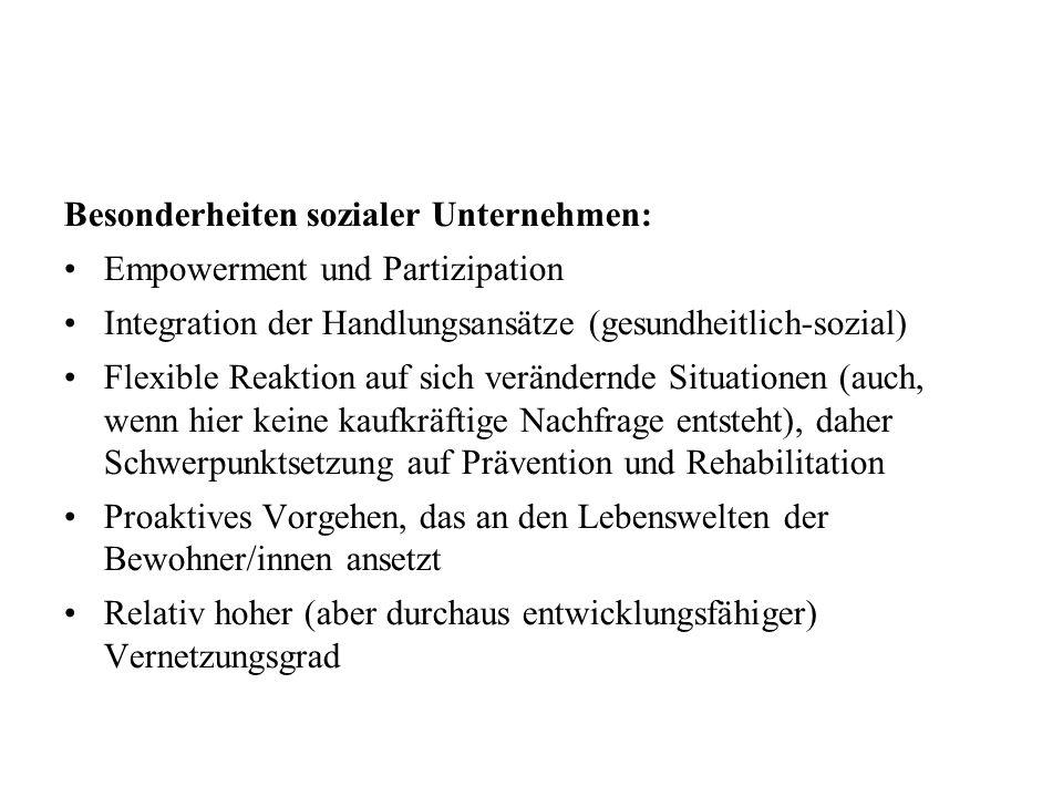 Besonderheiten sozialer Unternehmen: Empowerment und Partizipation Integration der Handlungsansätze (gesundheitlich-sozial) Flexible Reaktion auf sich