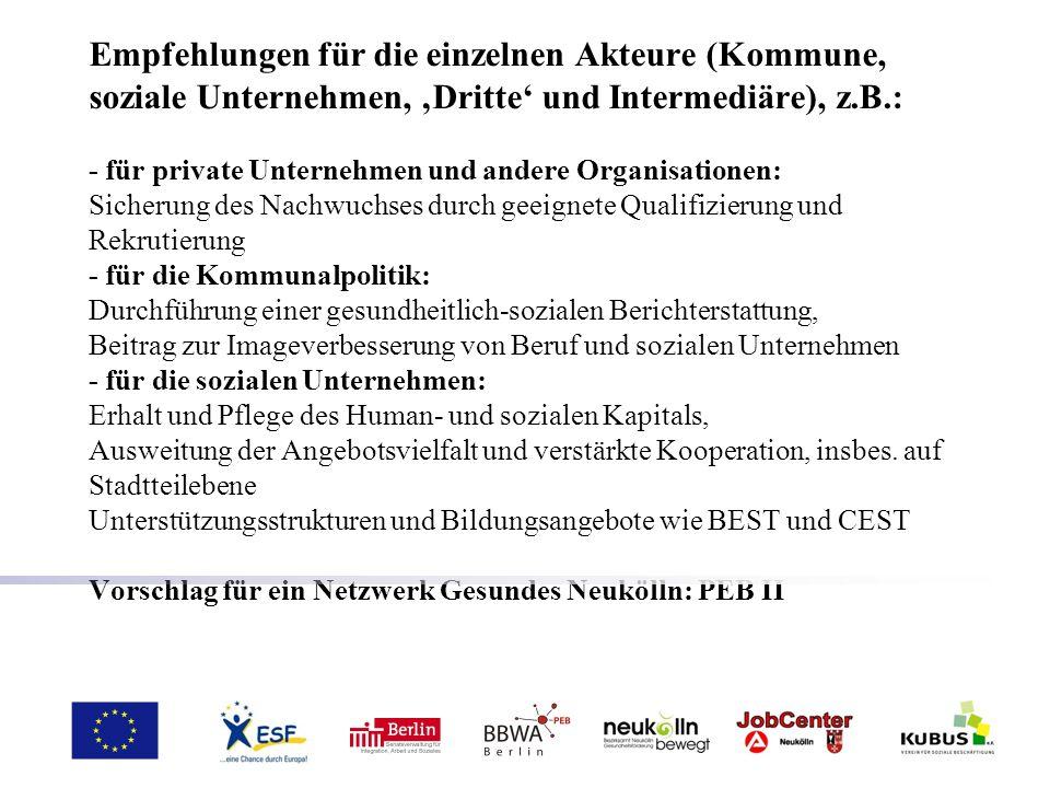Empfehlungen für die einzelnen Akteure (Kommune, soziale Unternehmen, Dritte und Intermediäre), z.B.: - für private Unternehmen und andere Organisatio