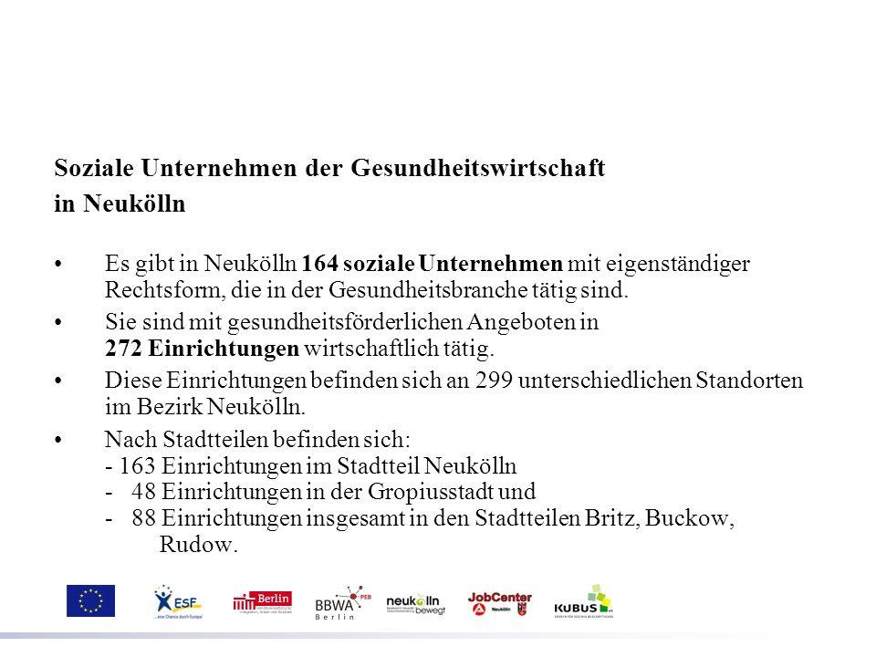 Soziale Unternehmen der Gesundheitswirtschaft in Neukölln Es gibt in Neukölln 164 soziale Unternehmen mit eigenständiger Rechtsform, die in der Gesund
