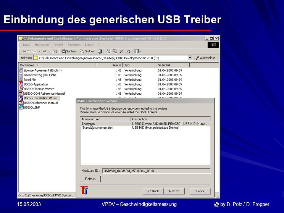 15.05.2003 VPDV – Geschwindigkeitsmessung @ by D. Pötz / D. Pröpper Einbindung des generischen USB Treiber