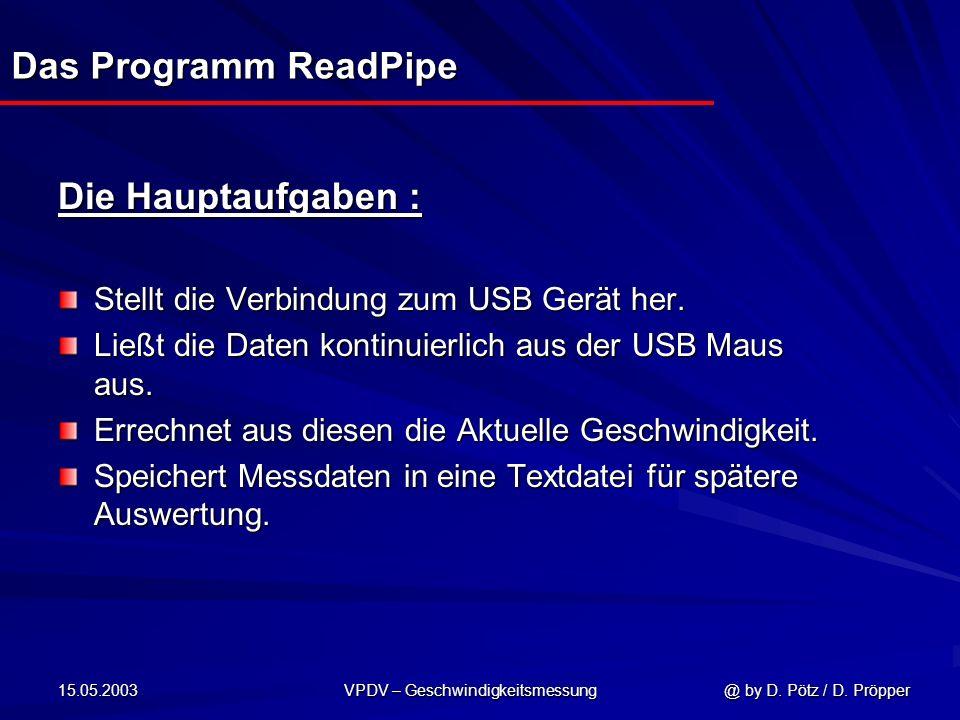 15.05.2003 VPDV – Geschwindigkeitsmessung @ by D. Pötz / D. Pröpper Das Programm ReadPipe Die Hauptaufgaben : Stellt die Verbindung zum USB Gerät her.