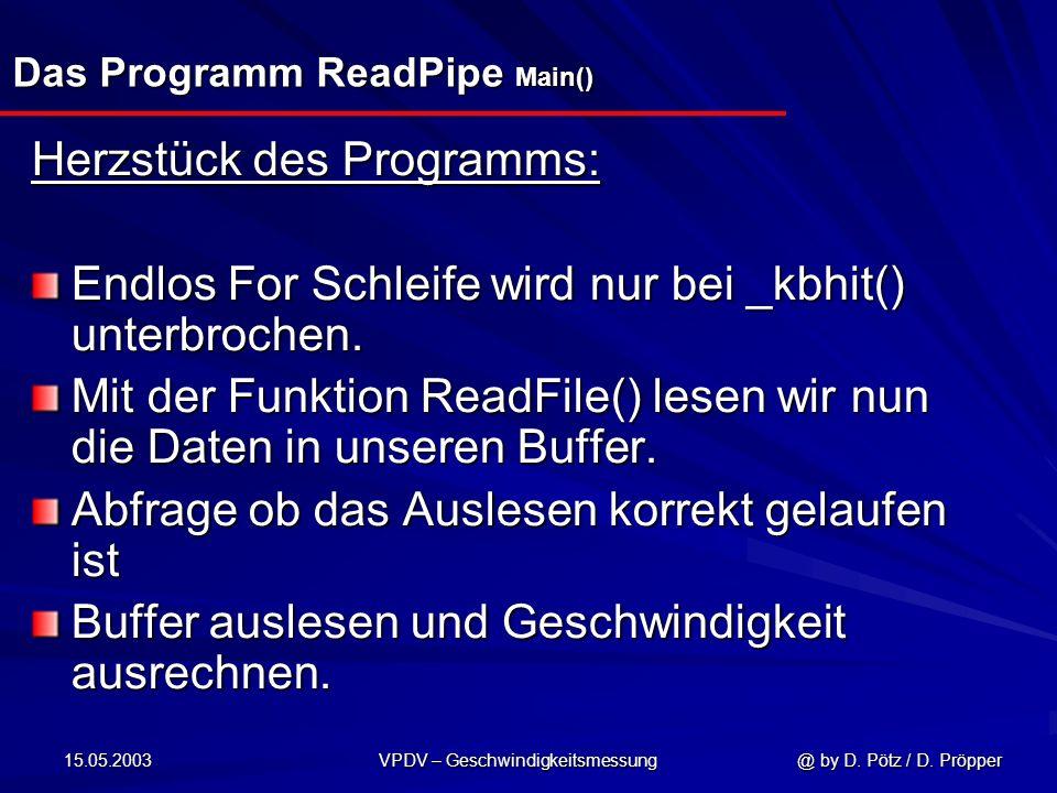 15.05.2003 VPDV – Geschwindigkeitsmessung @ by D. Pötz / D. Pröpper Das Programm ReadPipe Main() Herzstück des Programms: Endlos For Schleife wird nur