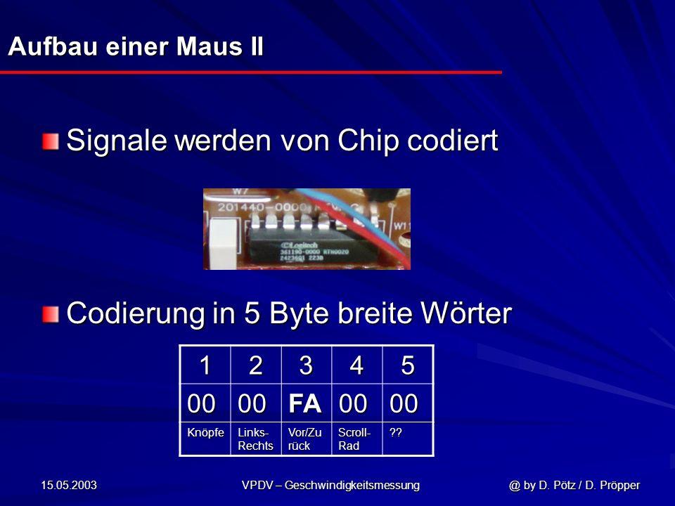 15.05.2003 VPDV – Geschwindigkeitsmessung @ by D. Pötz / D. Pröpper Aufbau einer Maus II Signale werden von Chip codiert Codierung in 5 Byte breite Wö