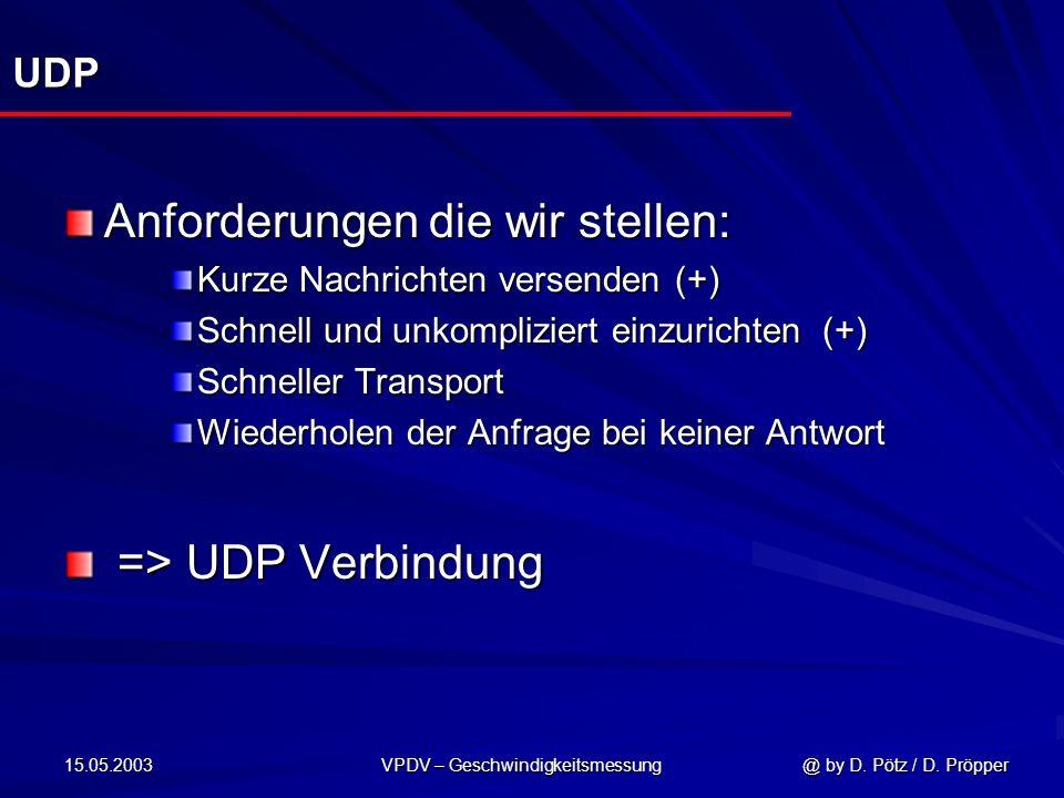 15.05.2003 VPDV – Geschwindigkeitsmessung @ by D. Pötz / D. Pröpper UDP Anforderungen die wir stellen: Kurze Nachrichten versenden (+) Schnell und unk