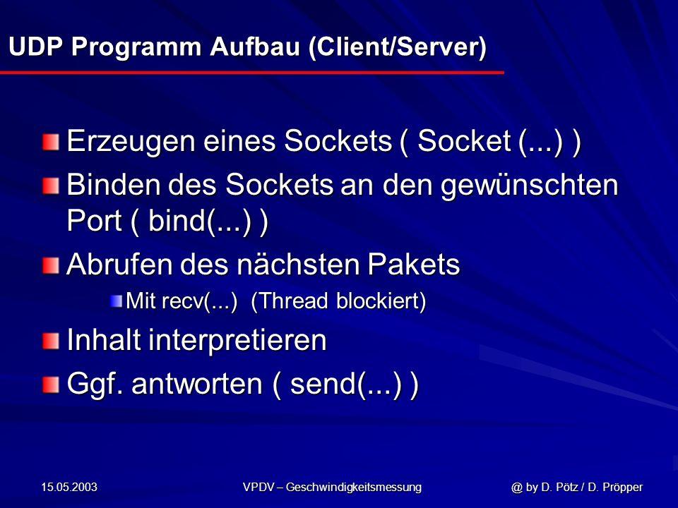 15.05.2003 VPDV – Geschwindigkeitsmessung @ by D. Pötz / D. Pröpper UDP Programm Aufbau (Client/Server) Erzeugen eines Sockets ( Socket (...) ) Binden