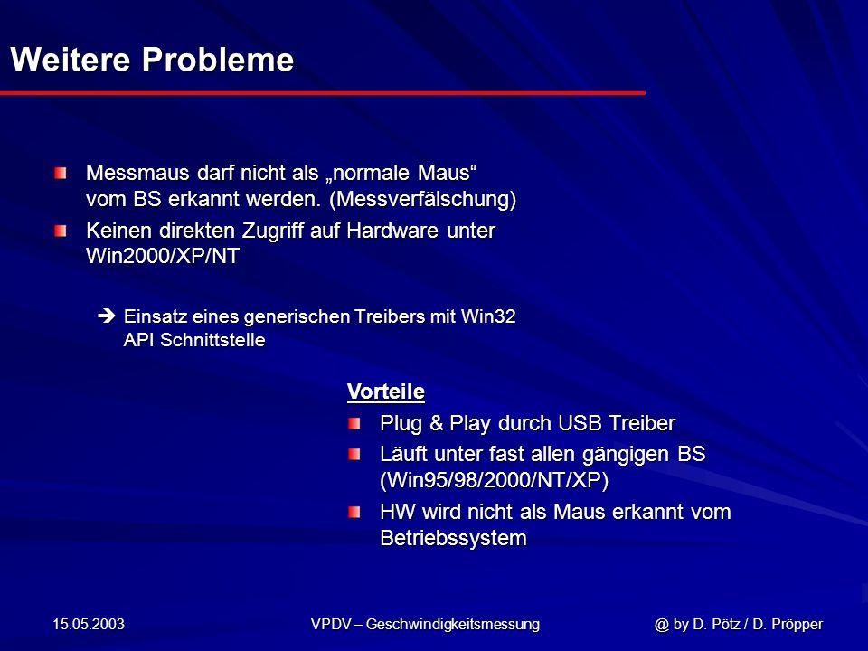 15.05.2003 VPDV – Geschwindigkeitsmessung @ by D. Pötz / D. Pröpper Weitere Probleme Messmaus darf nicht als normale Maus vom BS erkannt werden. (Mess