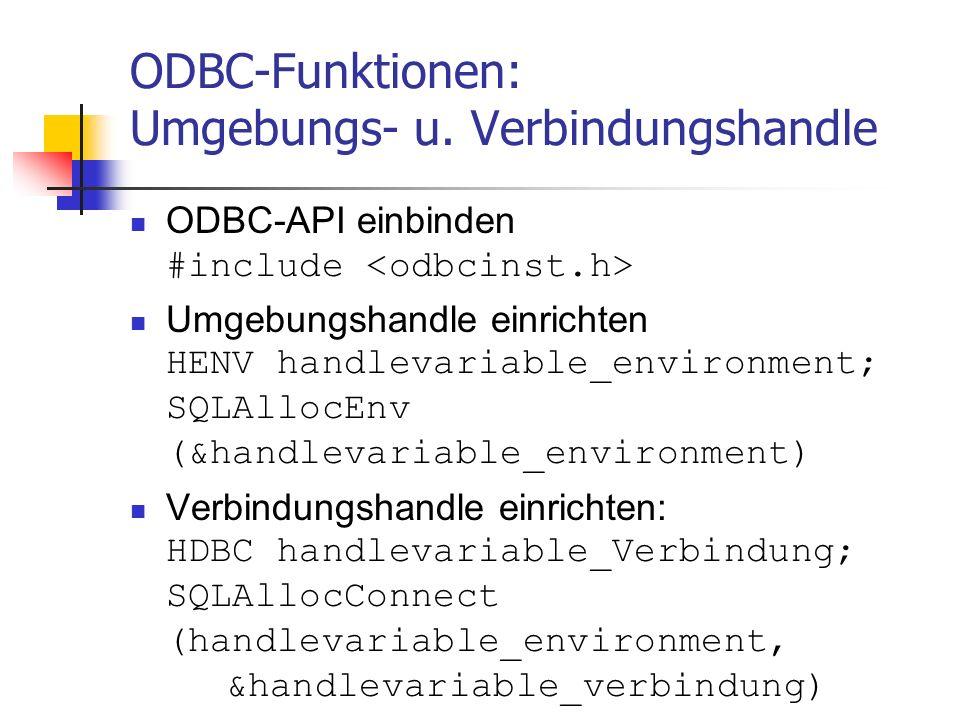 ODBC-Funktionen: Umgebungs- u.