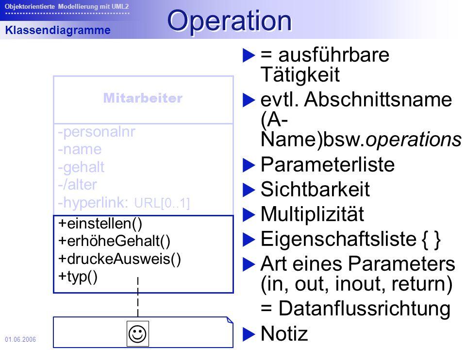 01.06.2006 Objektorientierte Modellierung mit UML2 Operation = ausführbare Tätigkeit evtl.
