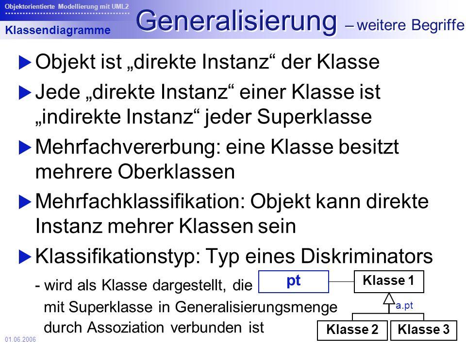 01.06.2006 Objektorientierte Modellierung mit UML2 Generalisierung – weitere Begriffe Objekt ist direkte Instanz der Klasse Jede direkte Instanz einer Klasse ist indirekte Instanz jeder Superklasse Mehrfachvererbung: eine Klasse besitzt mehrere Oberklassen Mehrfachklassifikation: Objekt kann direkte Instanz mehrer Klassen sein Klassifikationstyp: Typ eines Diskriminators - wird als Klasse dargestellt, die mit Superklasse in Generalisierungsmenge durch Assoziation verbunden ist Klasse 2 Klasse 1 pt Klasse 3 a.pt Klassendiagramme