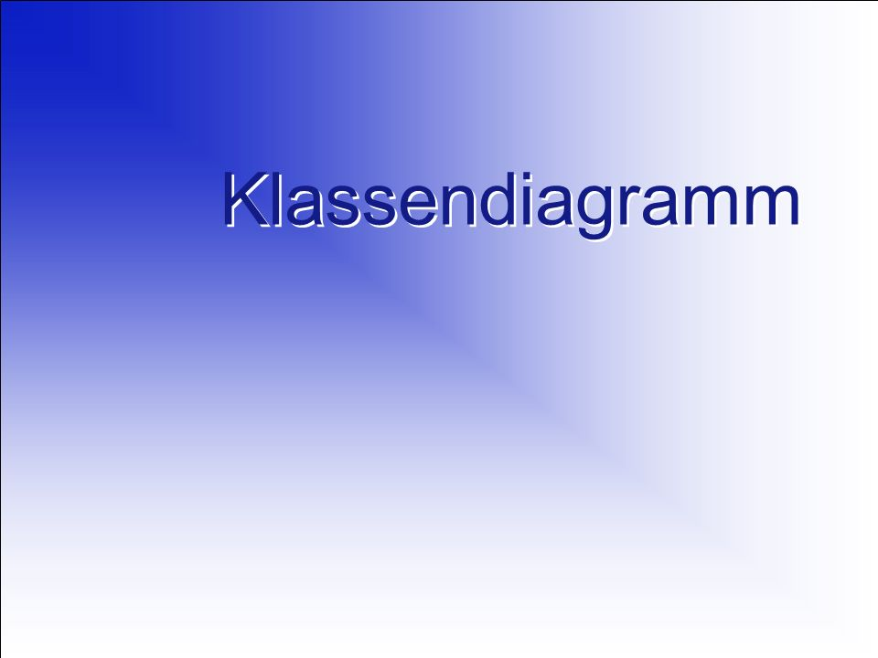 01.06.2006 Objektorientierte Modellierung mit UML2 Basisnotation von Klassen Namensfeld Attributliste Operationsliste Attribut … Operation() … Klasse Klassendiagramme