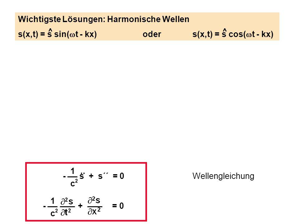 Wichtigste Lösungen: Harmonische Wellen s(x,t) = s sin( t - kx)oders(x,t) = s cos( t - kx) 1 c2c2 - s + s´´ = 0.. Wellengleichung 1 c2c2 - + = 0 ^^
