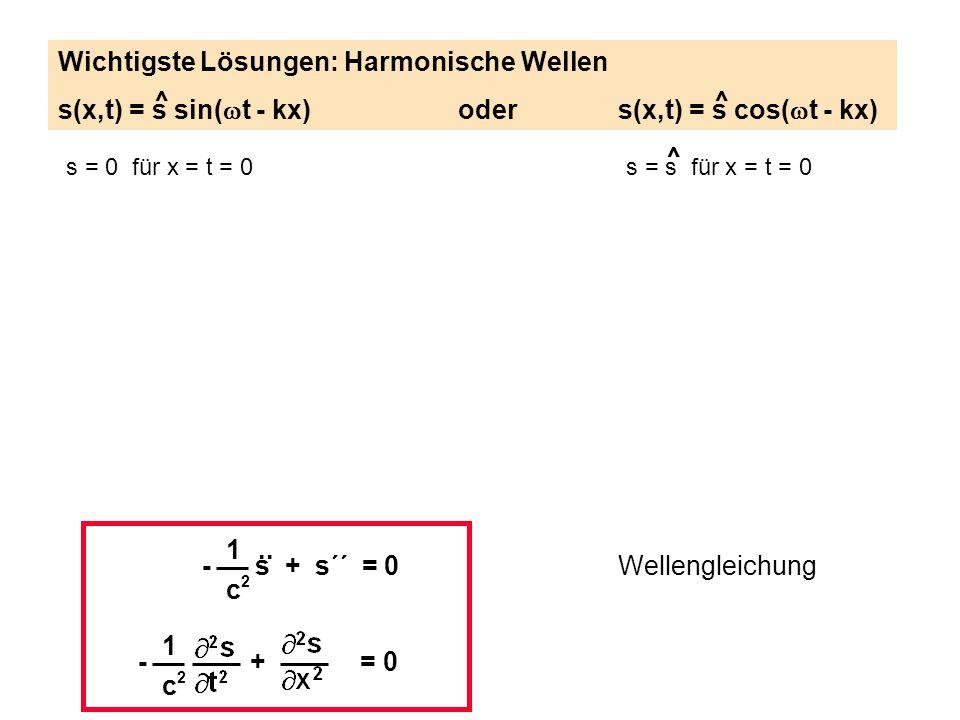 1 c2c2 - s + s´´ = 0.. Wellengleichung 1 c2c2 - + = 0 s = 0 für x = t = 0s = s für x = t = 0 Wichtigste Lösungen: Harmonische Wellen s(x,t) = s sin( t