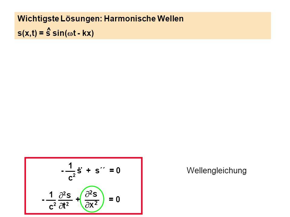 1 c2c2 - s + s´´ = 0.. Wellengleichung 1 c2c2 - + = 0 Wichtigste Lösungen: Harmonische Wellen s(x,t) = s sin( t - kx) ^