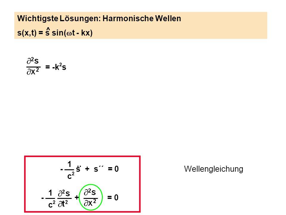 1 c2c2 - s + s´´ = 0.. Wellengleichung 1 c2c2 - + = 0 Wichtigste Lösungen: Harmonische Wellen s(x,t) = s sin( t - kx) ^ = -k 2 s