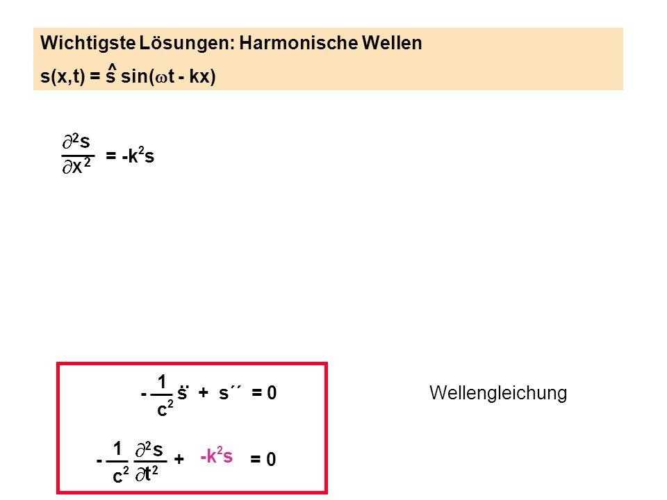1 c2c2 - s + s´´ = 0.. Wellengleichung 1 c2c2 - + = 0 = -k 2 s Wichtigste Lösungen: Harmonische Wellen s(x,t) = s sin( t - kx) ^ -k 2 s