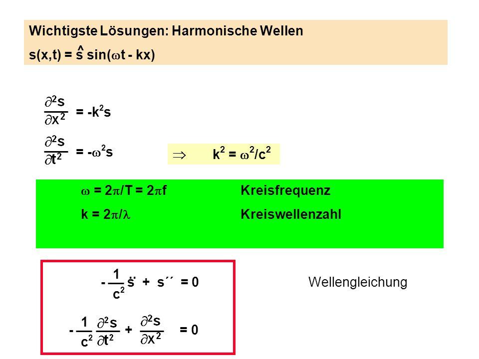 1 c2c2 - s + s´´ = 0.. Wellengleichung 1 c2c2 - + = 0 = -k 2 s = - 2 s k 2 = 2 /c 2 = 2 /T = 2 fKreisfrequenz k = 2 / Kreiswellenzahl Wichtigste Lösun