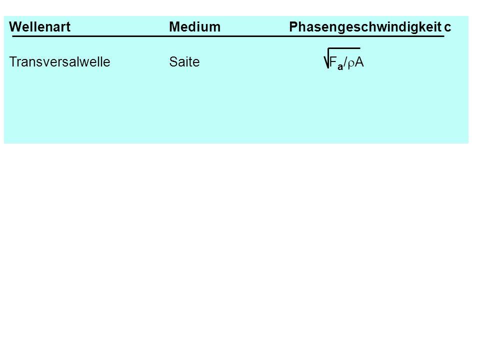 WellenartMediumPhasengeschwindigkeit c TransversalwelleSaiteF a / A