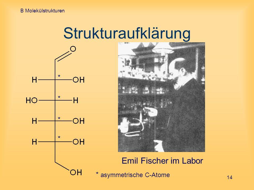 B Molekülstrukturen 14 Strukturaufklärung * * * * Emil Fischer im Labor * asymmetrische C-Atome