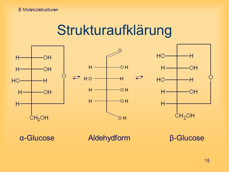 B Molekülstrukturen 15 Strukturaufklärung α-GlucoseAldehydform β-Glucose