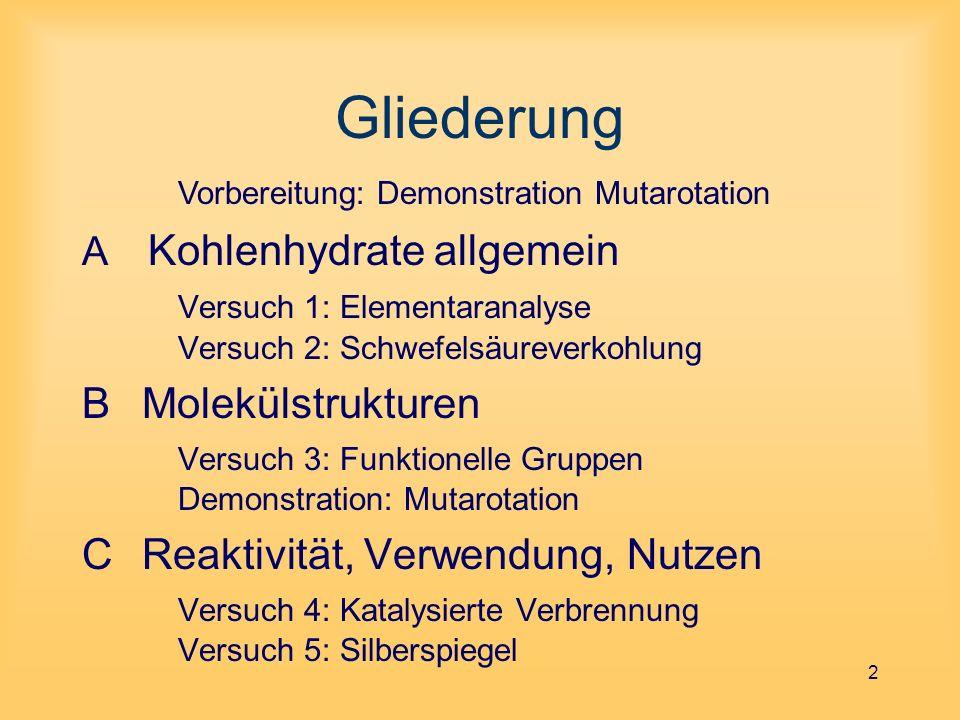 B Molekülstrukturen 13 Strukturaufklärung Emil Fischer (1852 - 1919) - Aufklärung der räumlichen An- ordnung der Atome im Glucose- Molekül - Ausgangspunkt: 4 asymmetrische C-Atome / 8 Paare Spiegelbildisomere - Oxidation zu Carbonsäuren - Änderung der optischen Aktivität - Modell für die Raumstruktur * * * *