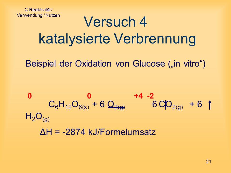 C Reaktivität / Verwendung / Nutzen 21 Versuch 4 katalysierte Verbrennung Beispiel der Oxidation von Glucose (in vitro) 0 0 +4 -2 C 6 H 12 O 6(s) + 6