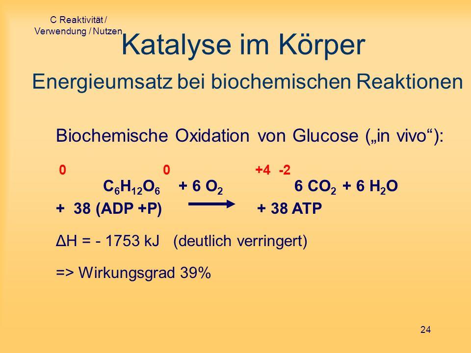 C Reaktivität / Verwendung / Nutzen 24 Katalyse im Körper Energieumsatz bei biochemischen Reaktionen Biochemische Oxidation von Glucose (in vivo): 0 0