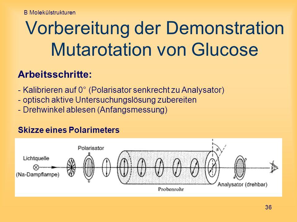 B Molekülstrukturen 36 Vorbereitung der Demonstration Mutarotation von Glucose Skizze eines Polarimeters Arbeitsschritte: - Kalibrieren auf 0° (Polari