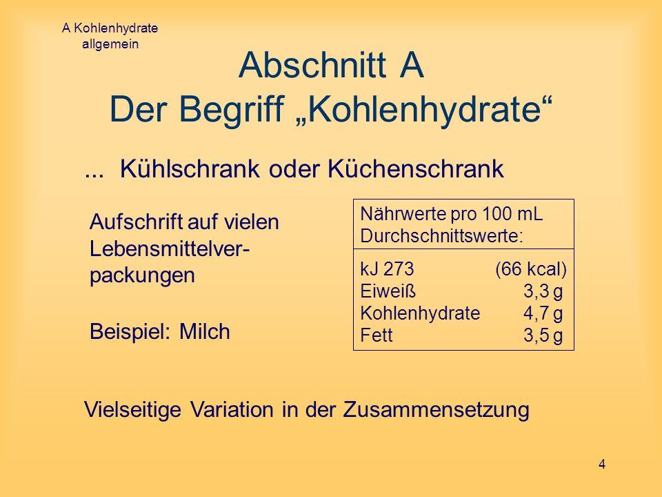 A Kohlenhydrate allgemein 4 Abschnitt A Der Begriff Kohlenhydrate... Kühlschrank oder Küchenschrank Nährwerte pro 100 mL Durchschnittswerte: kJ 273 (6