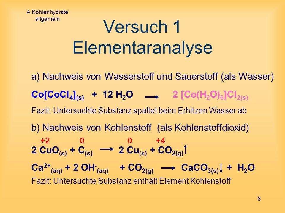 A Kohlenhydrate allgemein 6 Versuch 1 Elementaranalyse a) Nachweis von Wasserstoff und Sauerstoff (als Wasser) Co[CoCl 4 ] (s) + 12 H 2 O 2 [Co(H 2 O)