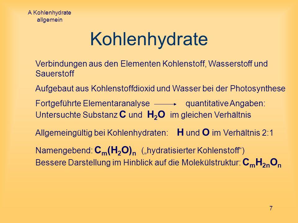 A Kohlenhydrate allgemein 8 Kohlenhydrate Chemische Stoffbezeichnung: Endung -ose zum Beispiel Fructose, Saccharose, Maltose, Lactose oder Cellulose Vielfältige Variation der Molekülgröße (Monosaccharide bis zu den Polysacchariden) geeignete Experimente Ermittlung der Molekülgröße Untersuchte Substanz ist Einfachzucker: C 6 H 12 O 6 => Einschränkung auf die Betrachtung von niedermolekularen Kohlenhydraten = Zucker Hinweis: Stärke ist Thema in einem der nachfolgenden Vorträge