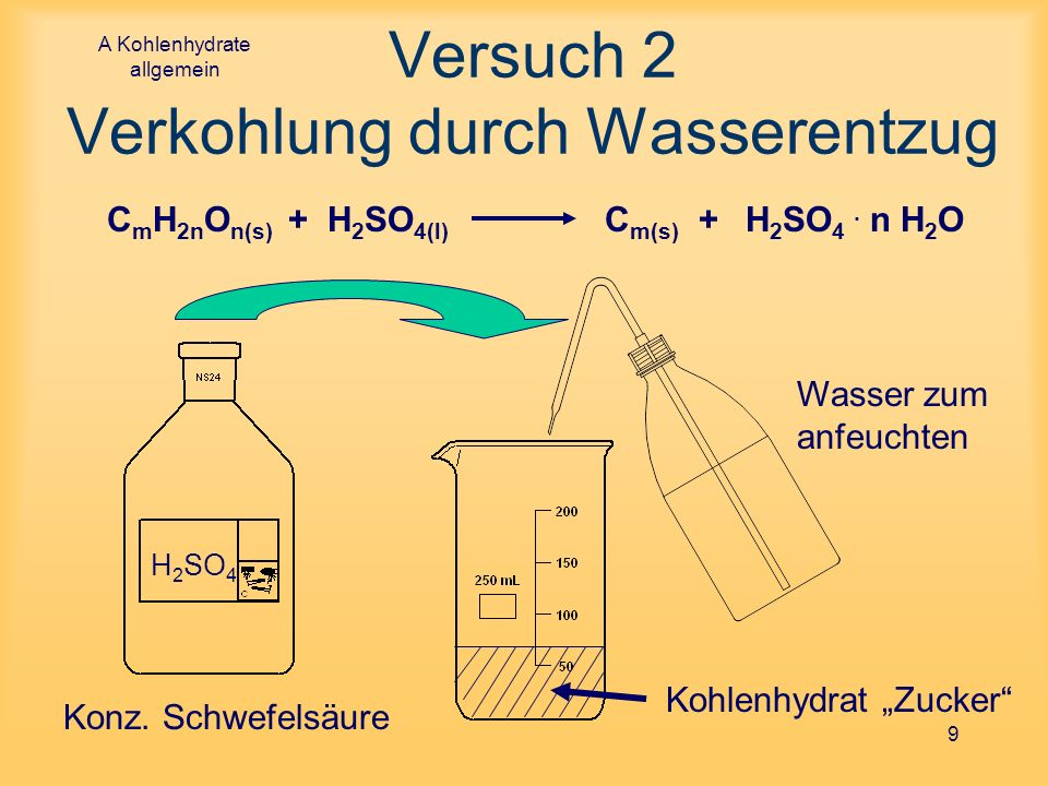 A Kohlenhydrate allgemein 9 Versuch 2 Verkohlung durch Wasserentzug Wasser zum anfeuchten Kohlenhydrat Zucker H 2 SO 4 Konz. Schwefelsäure C m H 2n O