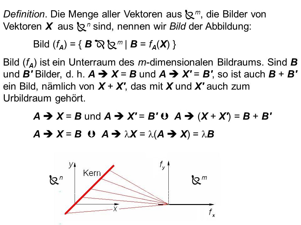 Definition. Die Menge aller Vektoren aus n, die auf den Null- vektor abgebildet werden, also die Lösungsmenge des homo- genen Gleichungssystems, nenne