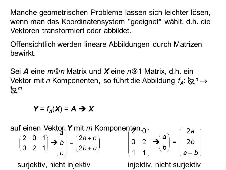 Abbildungen mit der m n Matrix A: (1) Die Lösungsmenge des homogenen Gleichungssystems A X = 0 ist Kern (f A ).