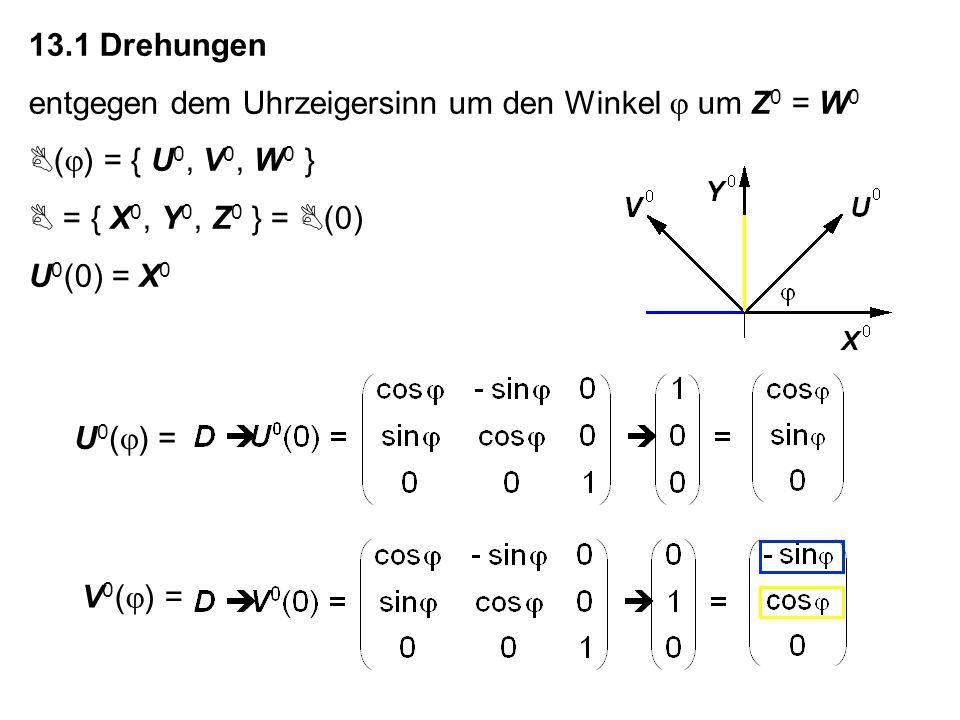 13.1 Drehungen entgegen dem Uhrzeigersinn um den Winkel um Z 0 = W 0 ( ) = { U 0, V 0, W 0 } = { X 0, Y 0, Z 0 } = (0) U 0 (0) = X 0 U 0 ( ) =