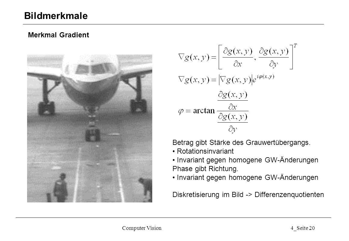 Computer Vision4_Seite 20 Merkmal Gradient Bildmerkmale Betrag gibt Stärke des Grauwertübergangs. Rotationsinvariant Invariant gegen homogene GW-Änder