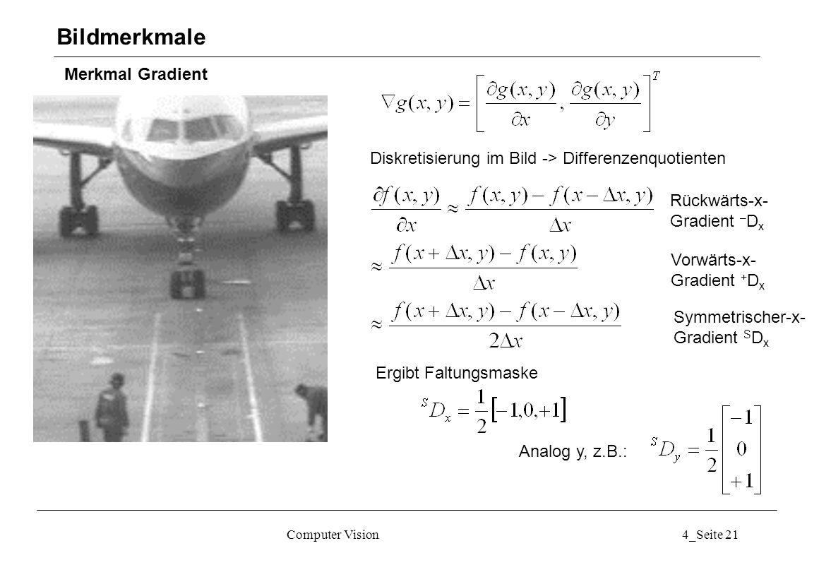 Computer Vision4_Seite 21 Merkmal Gradient Bildmerkmale Diskretisierung im Bild -> Differenzenquotienten Rückwärts-x- Gradient – D x Vorwärts-x- Gradi