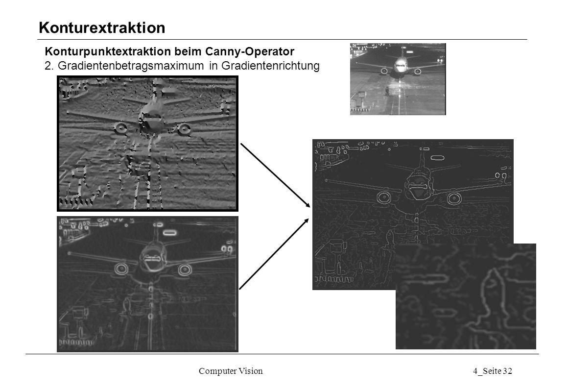 Computer Vision4_Seite 32 Konturpunktextraktion beim Canny-Operator 2. Gradientenbetragsmaximum in Gradientenrichtung Konturextraktion