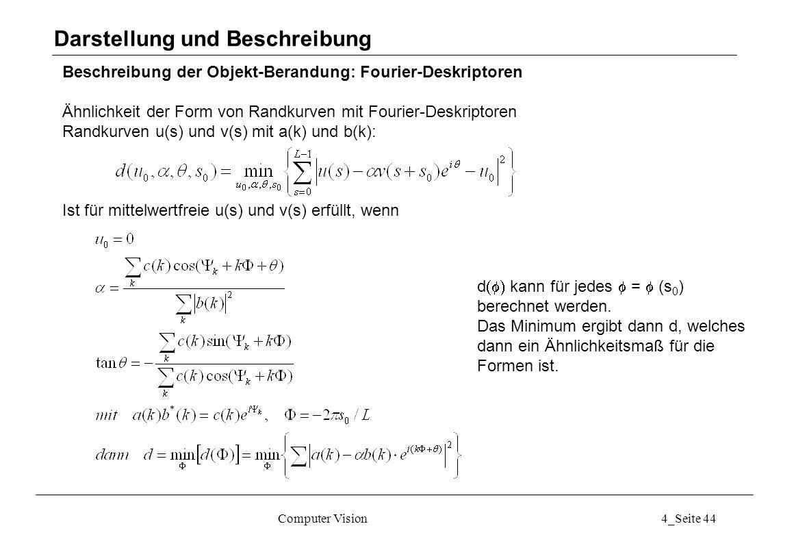 Computer Vision4_Seite 44 Beschreibung der Objekt-Berandung: Fourier-Deskriptoren Ähnlichkeit der Form von Randkurven mit Fourier-Deskriptoren Randkur