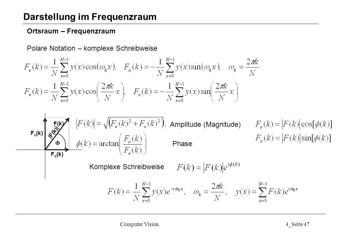 Computer Vision4_Seite 47 Ortsraum – Frequenzraum Polare Notation – komplexe Schreibweise Darstellung im Frequenzraum F e (k) F o (k) F(k) Amplitude (