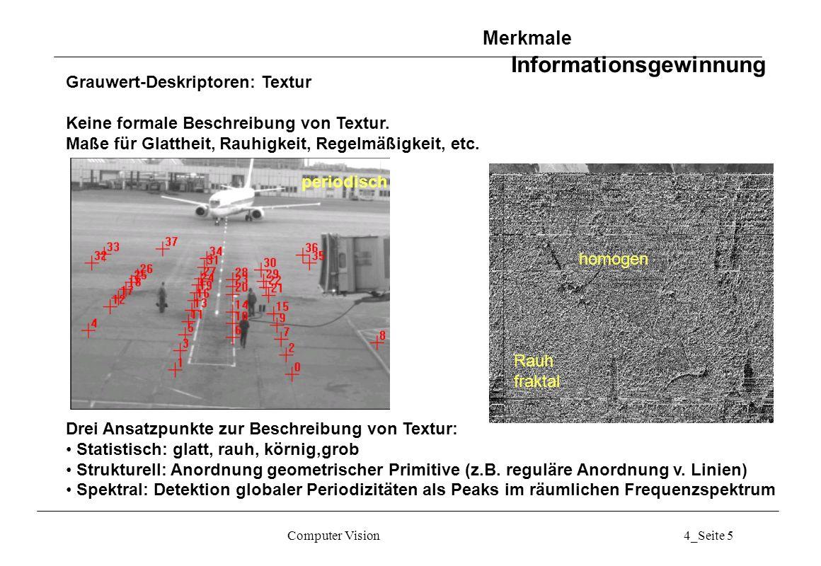 Computer Vision4_Seite 6 Textur: Statistische Ansätze Merkmale Informationsgewinnung Rauh fraktal homogen............
